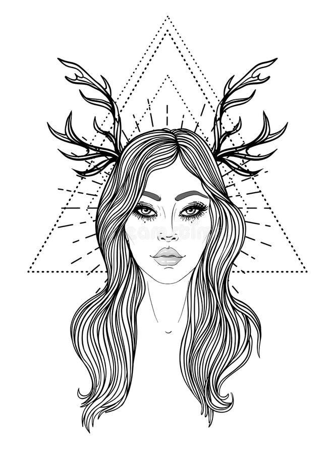Goddelijke Godin Zwart-wit meisje over heilig meetkundeteken, geïsoleerde illustratie Tatoegeringsschets Mystiek symbool stock illustratie