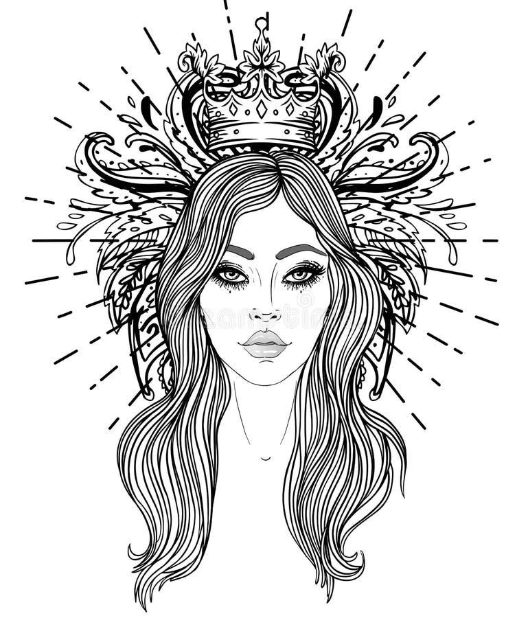 Goddelijke Godin Zwart-wit meisje over heilig meetkundeteken, geïsoleerde illustratie Tatoegeringsschets Mystiek symbool royalty-vrije illustratie