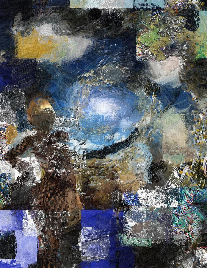 Goddess. Abstract painting with woman`s figure. This image created in entirety by me and is entirely owned by me and is entirely legal for me to sell and royalty free stock images