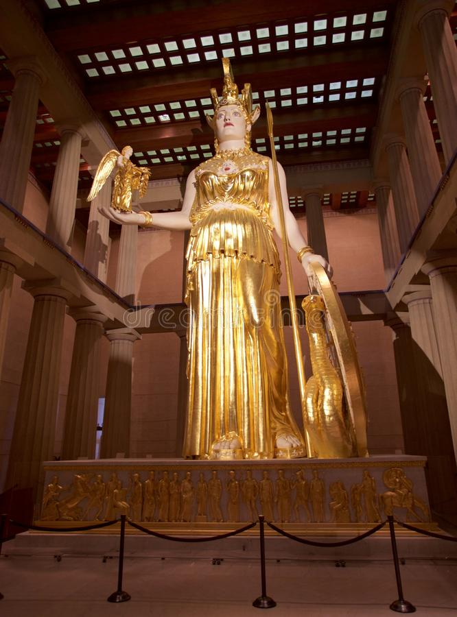 Athena The Goddess in the Parthenon Museum, Nashville TN. Athena is the goddess of wisdom, courage, inspiration, civilization, law and justice, mathematics royalty free stock image
