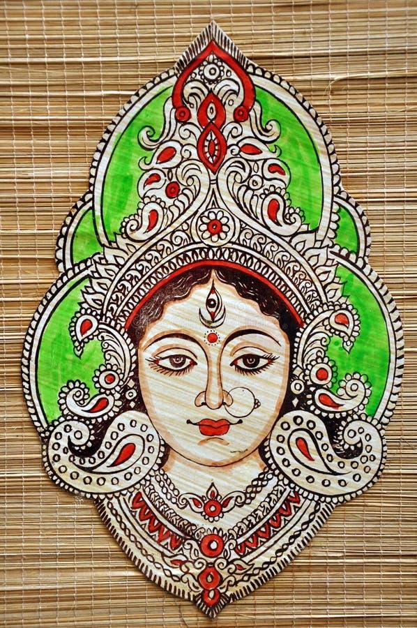Goddess Durga. Wooden wall hanging of indian Goddess Durga stock images