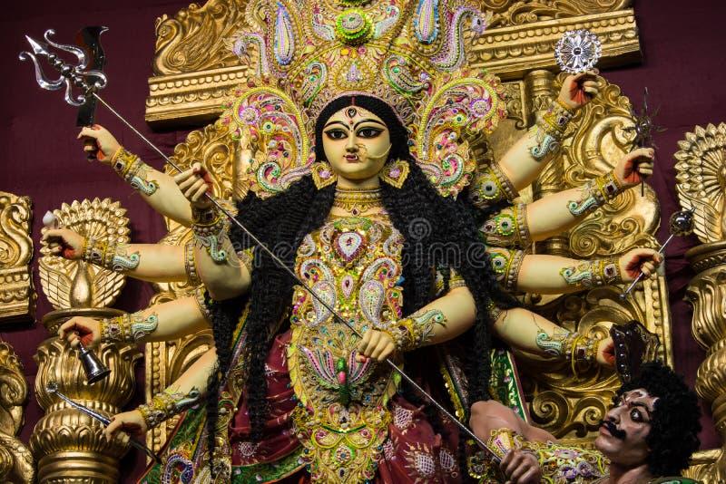 Goddess durga clay idol. An idol of hindu goddess durga shot during a festival at kolkata,india royalty free stock photography