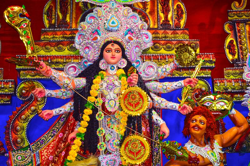 Goddess Durga: Durga Puja is the one of the most famous festival celebrated in West Bengal, Assam, Tripura. And is now celebrated worldwide stock photo