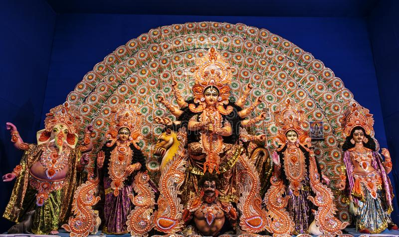 Goddess Durga: Durga Puja is the one of the most famous festival celebrated in West Bengal, Assam, Tripura. Goddess Durga: Durga Puja is the one of the most royalty free stock photography