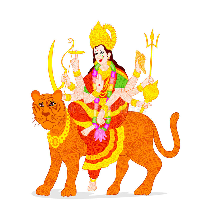Goddess Durga. Easy to edit vector illustration of Goddess Durga royalty free illustration