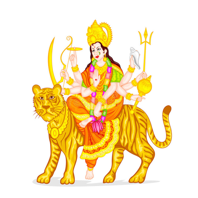 Goddess Durga. Easy to edit vector illustration of Goddess Durga vector illustration