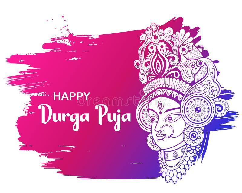 Goddess Durga Face in Happy Durga Puja Subh Navratri background. Illustration of Goddess Durga Face in Happy Durga Puja Subh Navratri background royalty free illustration