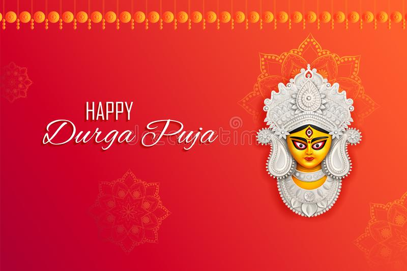 Goddess Durga Face in Happy Durga Puja Subh Navratri Indian religious header banner background stock illustration