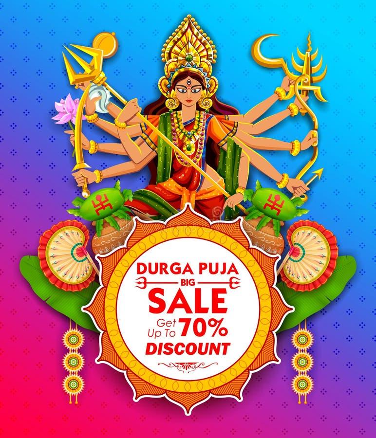 Goddess Durga in Subho Bijoya Happy Dussehra background royalty free illustration