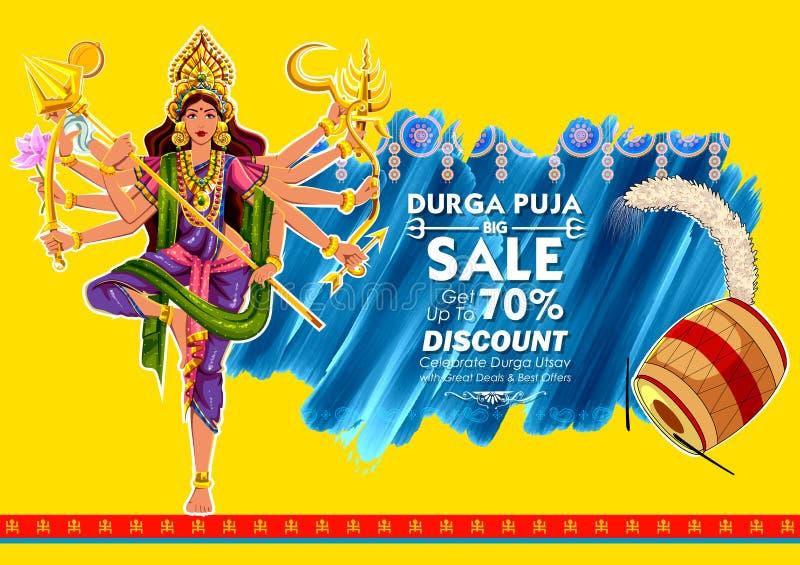 Goddess Durga in Subho Bijoya Happy Dussehra background stock illustration