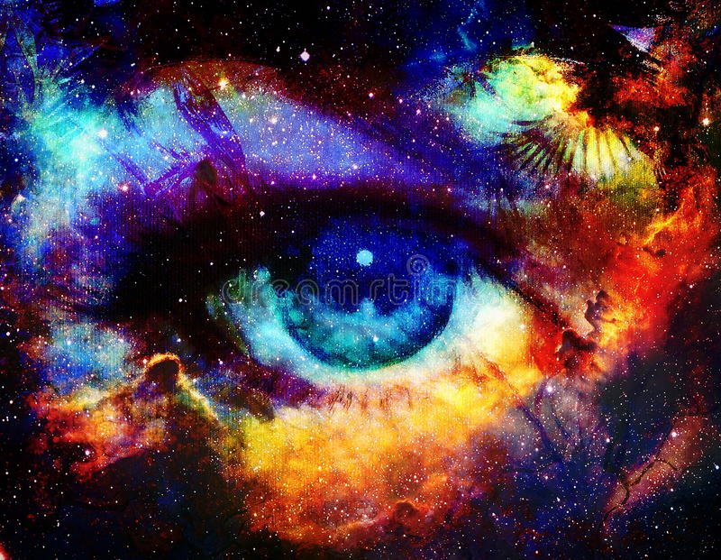 Goddess eye and Color space background with stars vector illustration