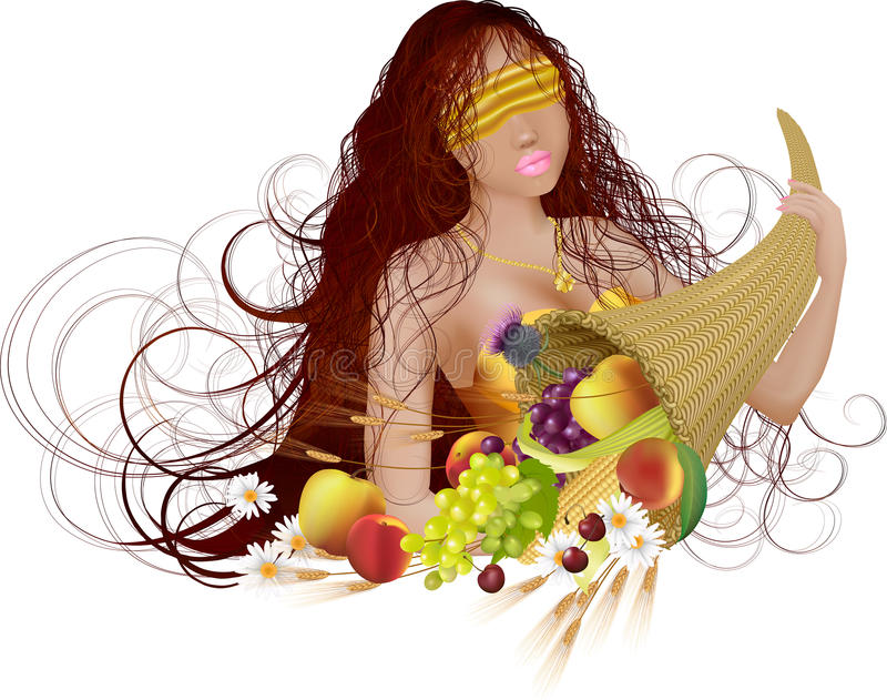 Goddess of fortune. Vector illustration of beautiful girl with long hair and cornucopia with fruit and flower: she is goddess of fortune royalty free illustration