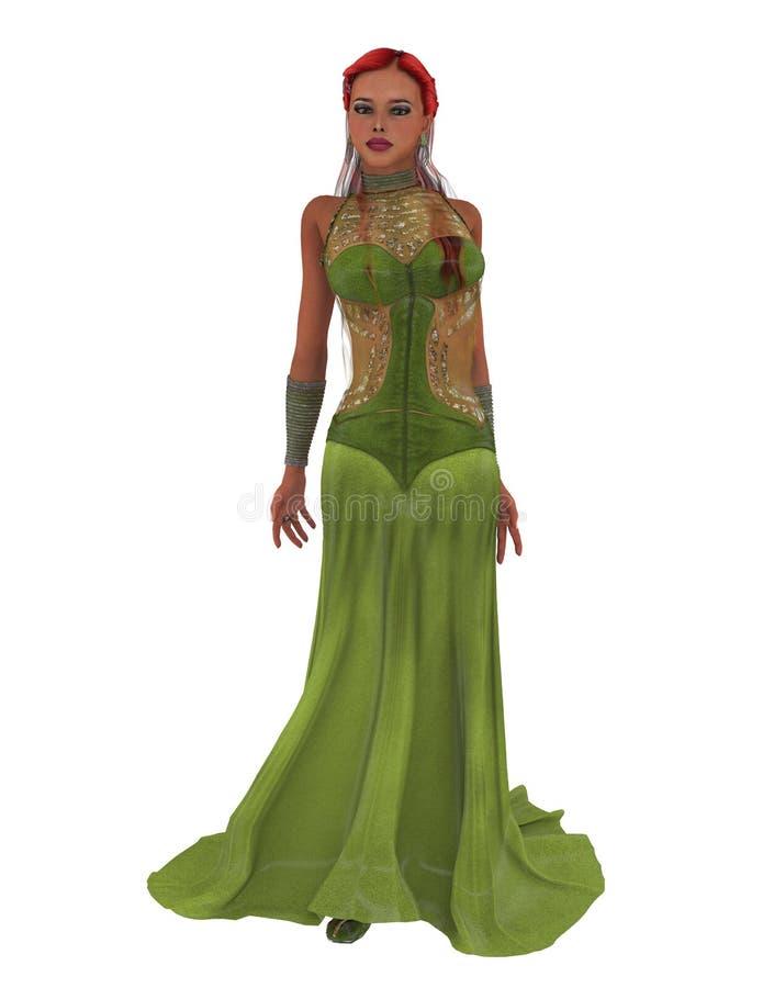 Goddess in green dress stock illustration