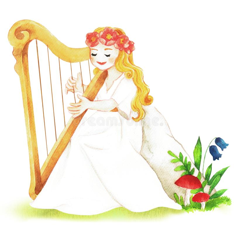 A Goddess with Harp in the Summer Forest Watercolor Illustration stock illustration