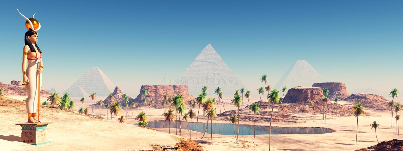 Goddess Hathor and the Pyramids of Giza. Computer generated 3D illustration with the Goddess Hathor and the Pyramids of Giza in Egypt royalty free illustration