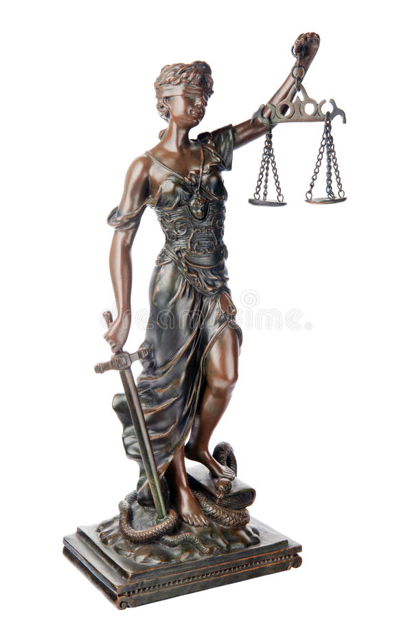 Goddess of Justice. Themis, mythological Greek goddess, symbol of justice, blind and holding empty balance in one hand and sword in another, standing on defeated stock images