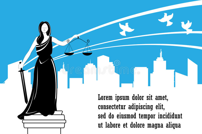 Goddess of justice Themis on the city background. Justice Day . Peace, safety and immunity concept. vector illustration