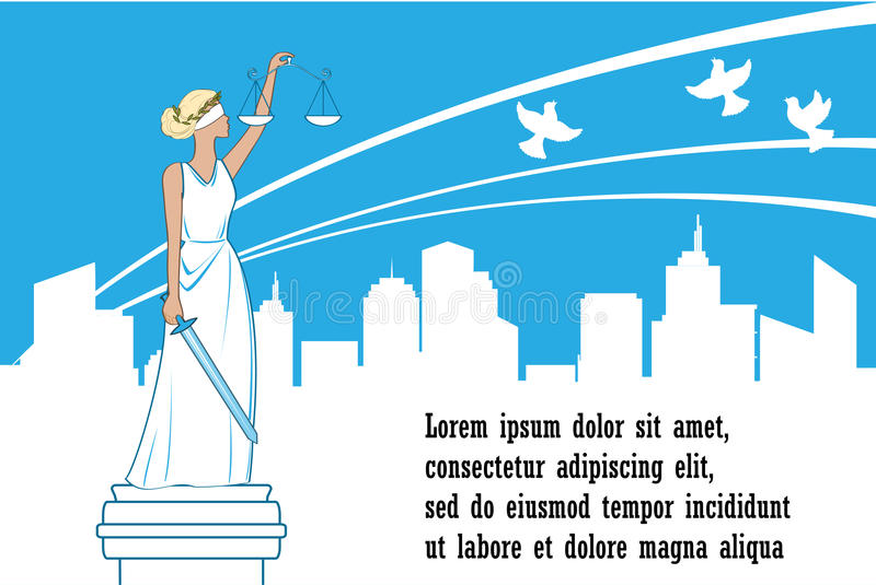 Goddess of justice Themis on the city background. Peace, safety and immunity concept. Femida with balance and sword royalty free illustration
