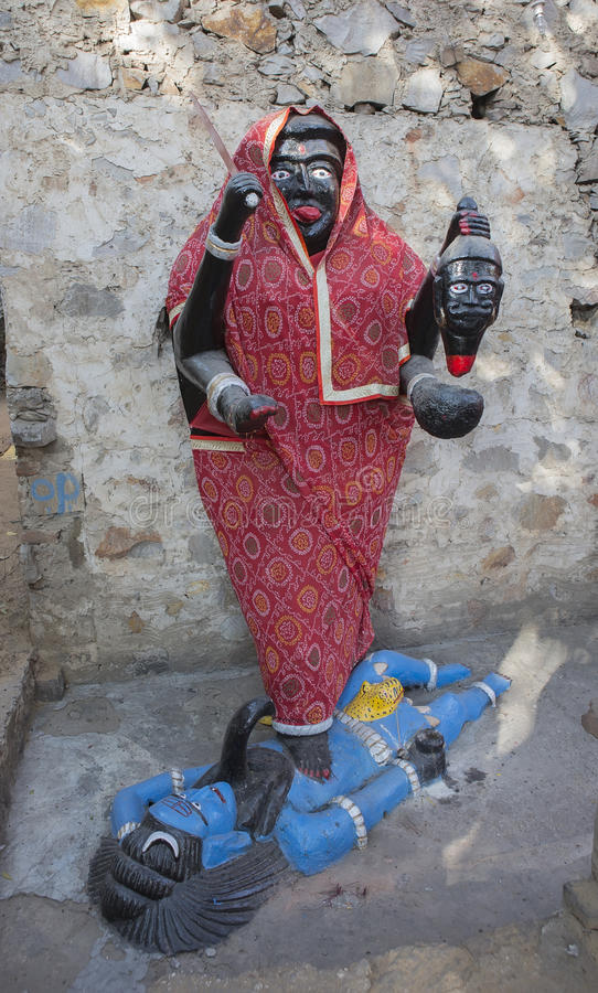 Goddess Kali Ma Murti in Jaipur Temple near local smashan. Statues of Hindu Gods stock photography