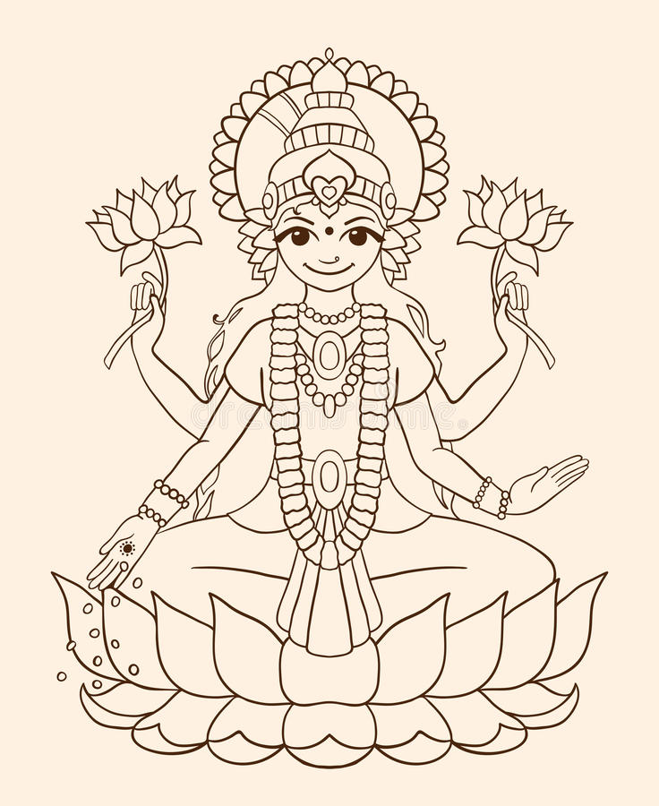 Goddess Lakshmi - brings wealth and prosperity. royalty free illustration