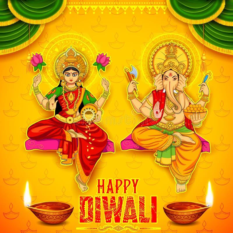 Goddess Lakshmi and Lord Ganesha on happy Diwali Holiday doodle background for light festival of India. Illustration of Goddess Lakshmi and Lord Ganesha on happy stock illustration