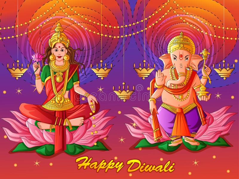 Goddess Lakshmi and Lord Ganesha for Happy Diwali prayer festival of India in Indian art style. Vector design of Goddess Lakshmi and Lord Ganesha for Happy stock illustration