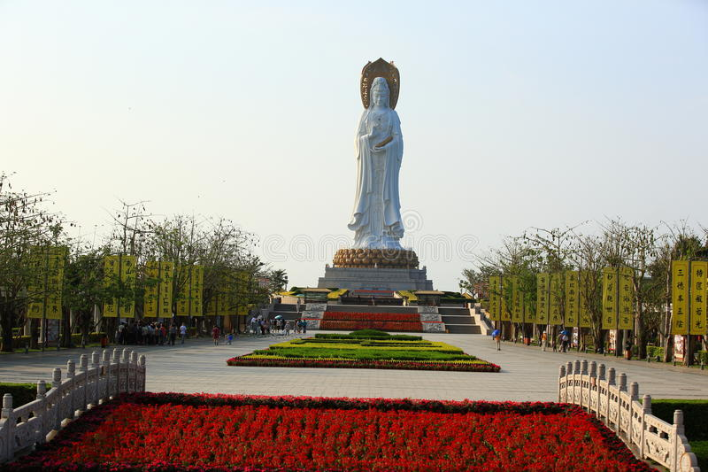 Goddess of mercy statue at seaside in nanshan temple, hainan island royalty free stock photo