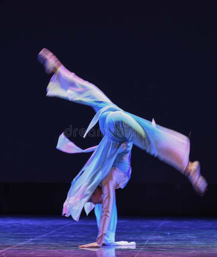 The goddess of the moon dance-The national folk dance. Graduation performance of class 2, grade 11, dancing department,Jiangxi Vocational Academy of Art on Dec stock image
