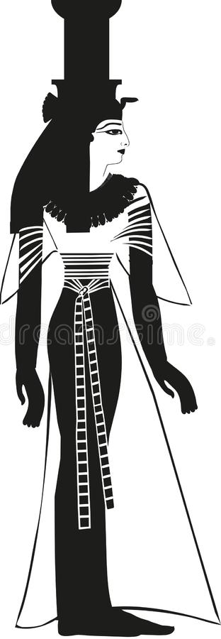 Ancient Egyptian Goddess Nephthys Silhouette. Goddess Nephthys. Sister to Isis. Goddess of mourning and lamentation, night and sleep. Protector of Mummy and jars vector illustration