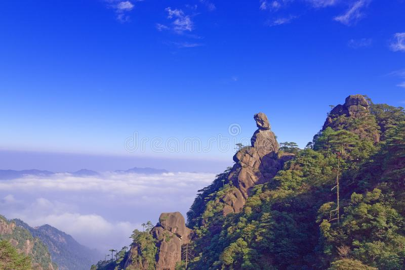 Goddess Peak-Mount Sanqingshan. The Goddess Peak is located in the world natural heritage - Jiangxi Shangrao province Qing Garden East Shannan, Mount Sanqingshan royalty free stock photos