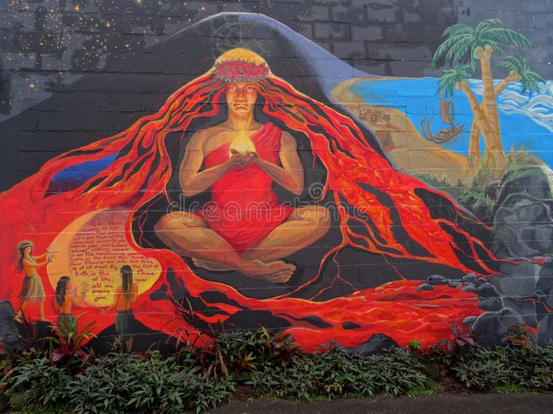 Beautiful Mural of Goddess Pele royalty free stock photography
