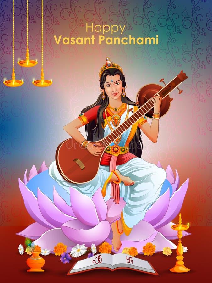 Goddess Saraswati for Vasant Panchami Puja of India. Easy to edit vector illustration of Goddess Saraswati for Vasant Panchami Puja of India vector illustration