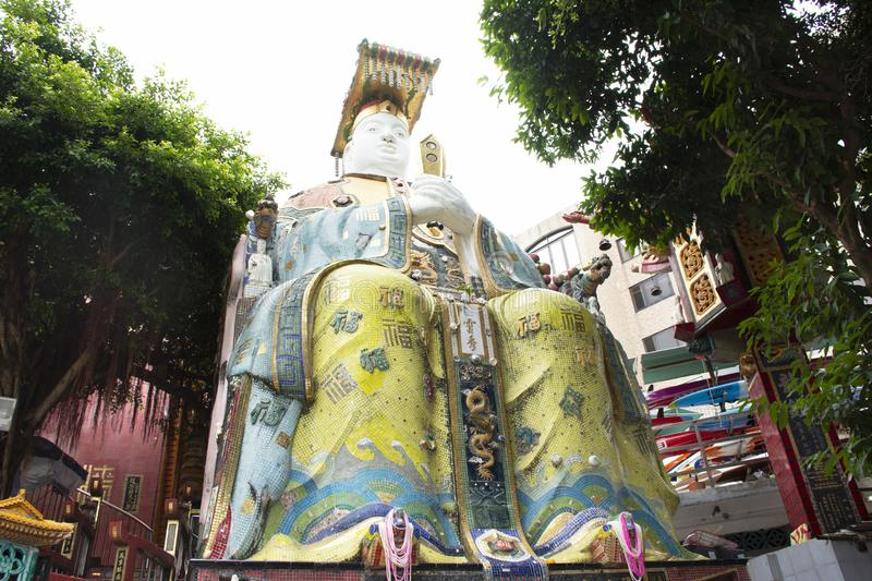 Goddess of the Sea or Mazu god statues in Tin Hau Temple or Kwun Yam Shrine at Repulse Bay in Hong Kong, Chin. Goddess of the Sea or Mazu god statues for people stock photography