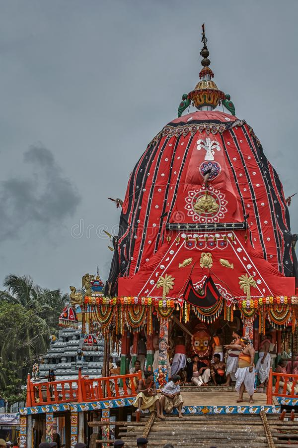 Goddess Subhadra's Chariotthe smallest of the chariots canopy color : black and red in Jagannath Rath Yatra puri Orissa. 24-jul-2007- Goddess Subhadra royalty free stock photography