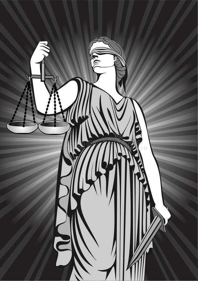 Goddess Themis.Equality .lady justice. court.Law. royalty free illustration