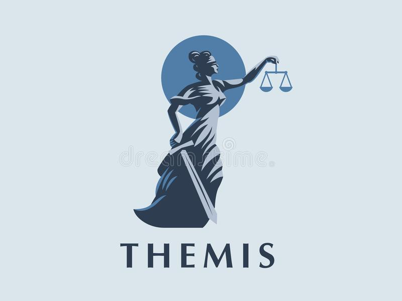 The goddess Themis with a sword of justice and weights in her hands royalty free illustration