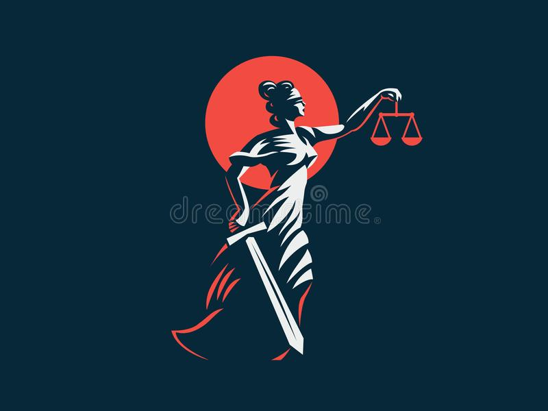 The goddess Themis with a sword of justice and weights in her hands. Vector emblem royalty free illustration