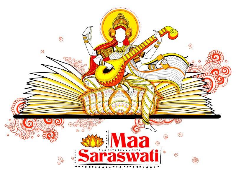 Goddess of Wisdom Saraswati for Vasant Panchami India festival background. Illustration of Goddess of Wisdom Saraswati for Vasant Panchami India festival stock illustration