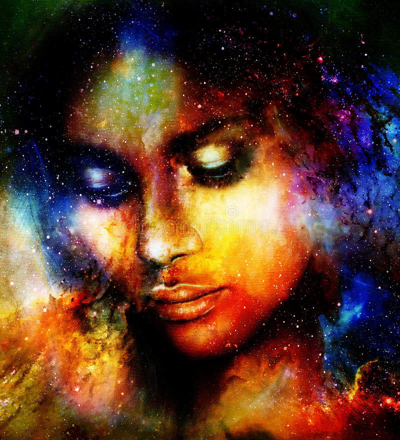 Goddess Woman in Cosmic space. Cosmic Space background. Goddess Woman in Cosmic space. Cosmic Space background royalty free illustration