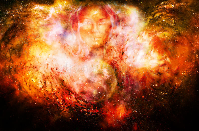 Goddess woman and symbol Yin Yang in cosmic space. Fire effect. royalty free illustration