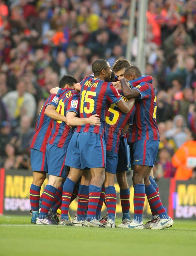 Godere dei giocatori di FC Barcellona fotografia stock libera da diritti