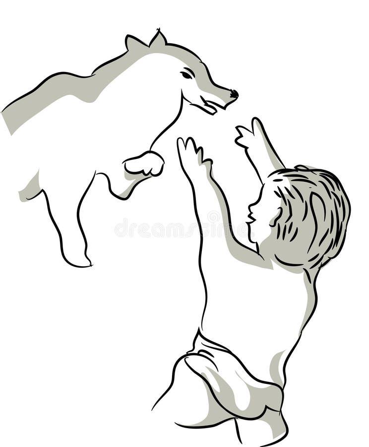 Godere del bambino e del cane royalty illustrazione gratis