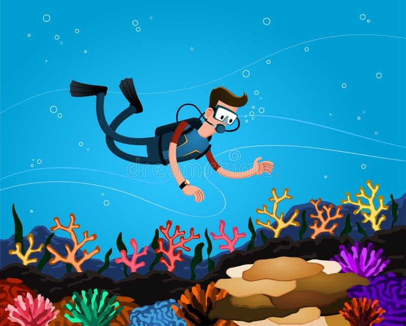 Godere della barriera corallina illustrazione vettoriale