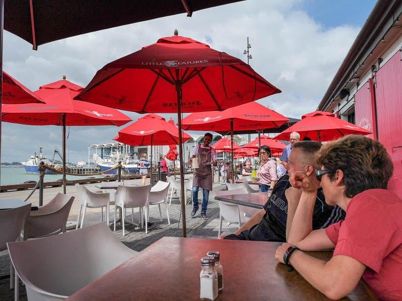 Godere della conversazione al caffè di lungomare di Auckland Bacino del porto del viadotto immagine stock