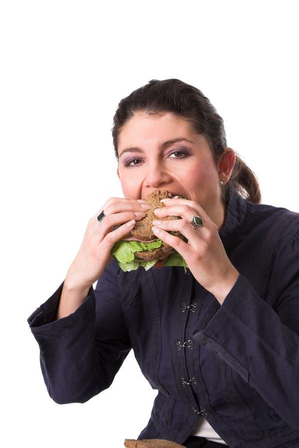 Godere di un panino sano fotografia stock