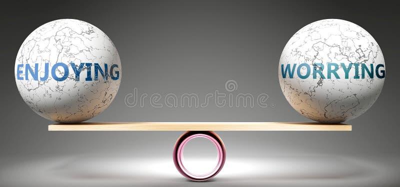 Godere e preoccuparsi in equilibrio - nella foto si vedono palle equilibrate su scala che simboleggiano armonia ed equità tra god illustrazione vettoriale