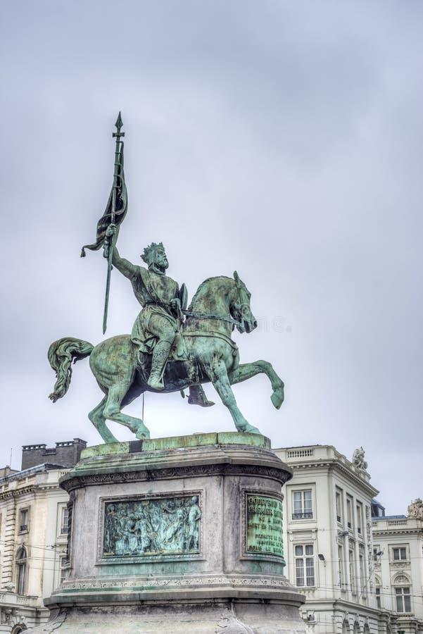 Godfrey van Bouillon in Brussel, België royalty-vrije stock afbeeldingen