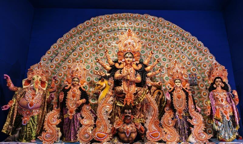 Godin Durga: Durga Puja is één van het beroemdste die festival in West-Bengalen, Assam, Tripura wordt gevierd en is nu gevierd w royalty-vrije stock fotografie