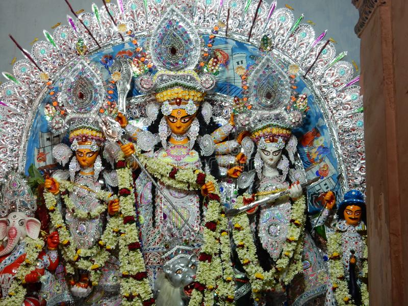 Godin Durga During Durga Puja in Kolkata stock foto