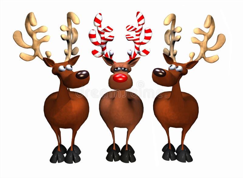 Godis Cane Reindeer stock illustrationer